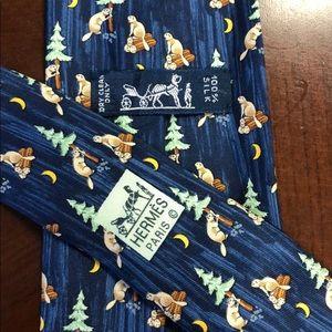 HERME'S 100% Authentic Silk 7717 OA Beavers & Logs